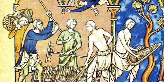 Contadini al lavoro nel Medioevo