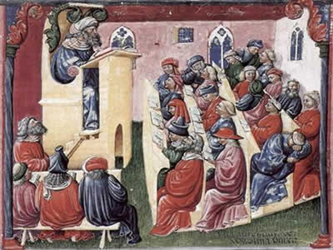 Lezione in una università europea , 1350 circa