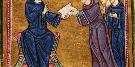 San Benedetto porge la sua regola a S.Mauro e altri monaci, miniatura
