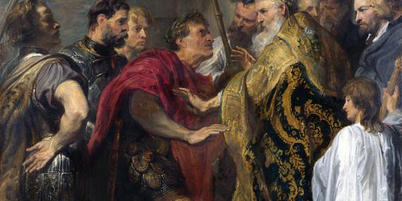 L'imperatore Teodosio e sant'Ambrogio, dipinto di Van Dyck, Palazzo Venezia, Roma.