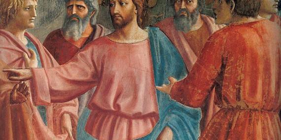 Masaccio_Cristo tra gli apostoli_dettaglio del Tributo