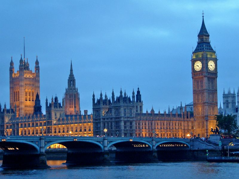 Palazzo di Westminster al tramonto