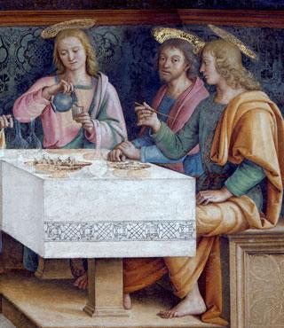 Perugino (Pietro Vannucci detto il) e collaboratori, Ultima cena, 1490 circa, particolare. Firenze, monastero di Sant'Onofrio