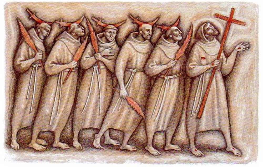 I protomartiri francescani in un moderno santino.