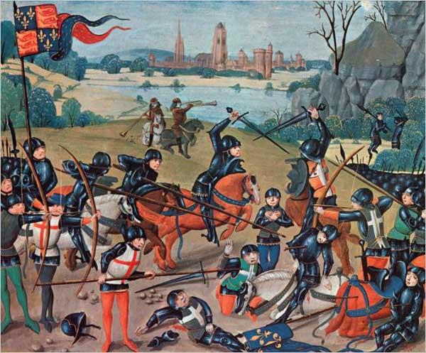 La Battaglia di Azincourt (miniatura XV secolo, Lambeth Palace Library).