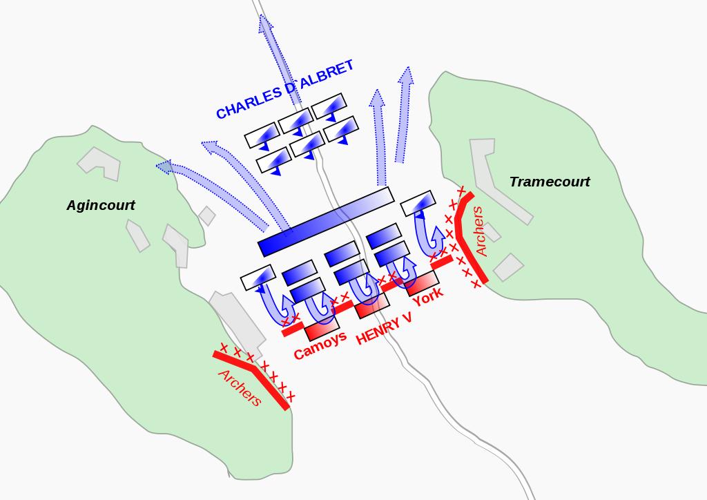 Rappresentazione schematica della battaglia le forze inglesi sono in rosso, le francesi in blu