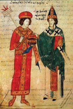 San Leone IX papa (1049-1054) e Michele Cerulario, patriarca di Costantinopoli