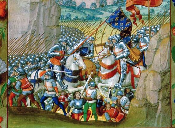 battle-of-agincourt Chronique de France. French. Manuscript