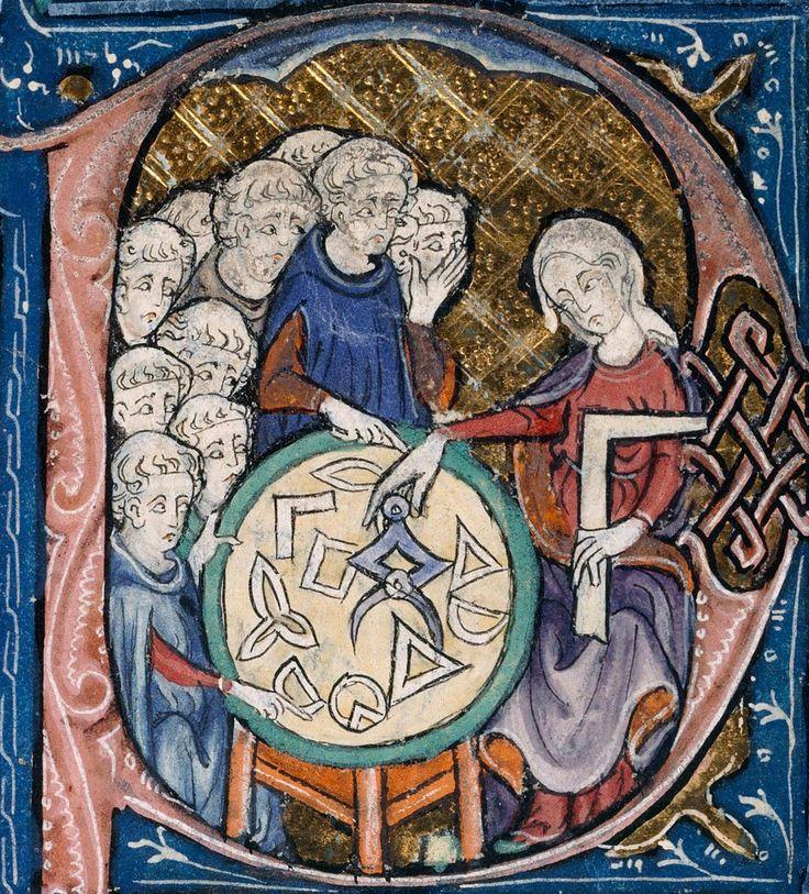 Allegoria della Geometria. Miniatura tratta dal manoscritto Burney 275 degli Elementi di Euclide, nella traduzione latina dall'arabo attribuita a Adelardo di Bath, circa 1309-1316 (British Library, Londra).