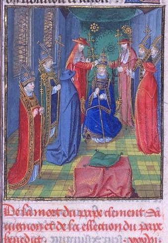 La consacrazione dell'antipapa Benedetto XIII, al secolo Pietro di Luna.