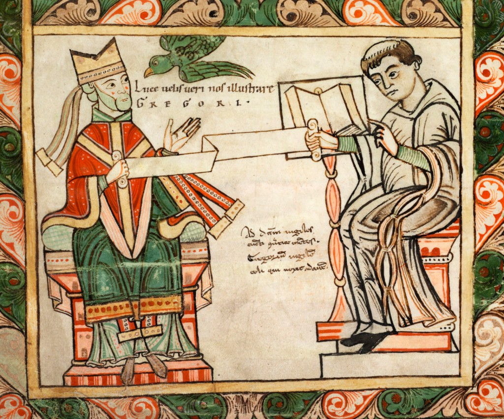 COPERTINA Gregorio Magno detta i suoi canti a un monaco benedettino, miniatura Cleveland Museum of Art.
