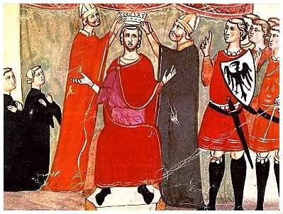 Dal manoscritto chigiano della Cronica del Villani. Incoronazione di Manfredi