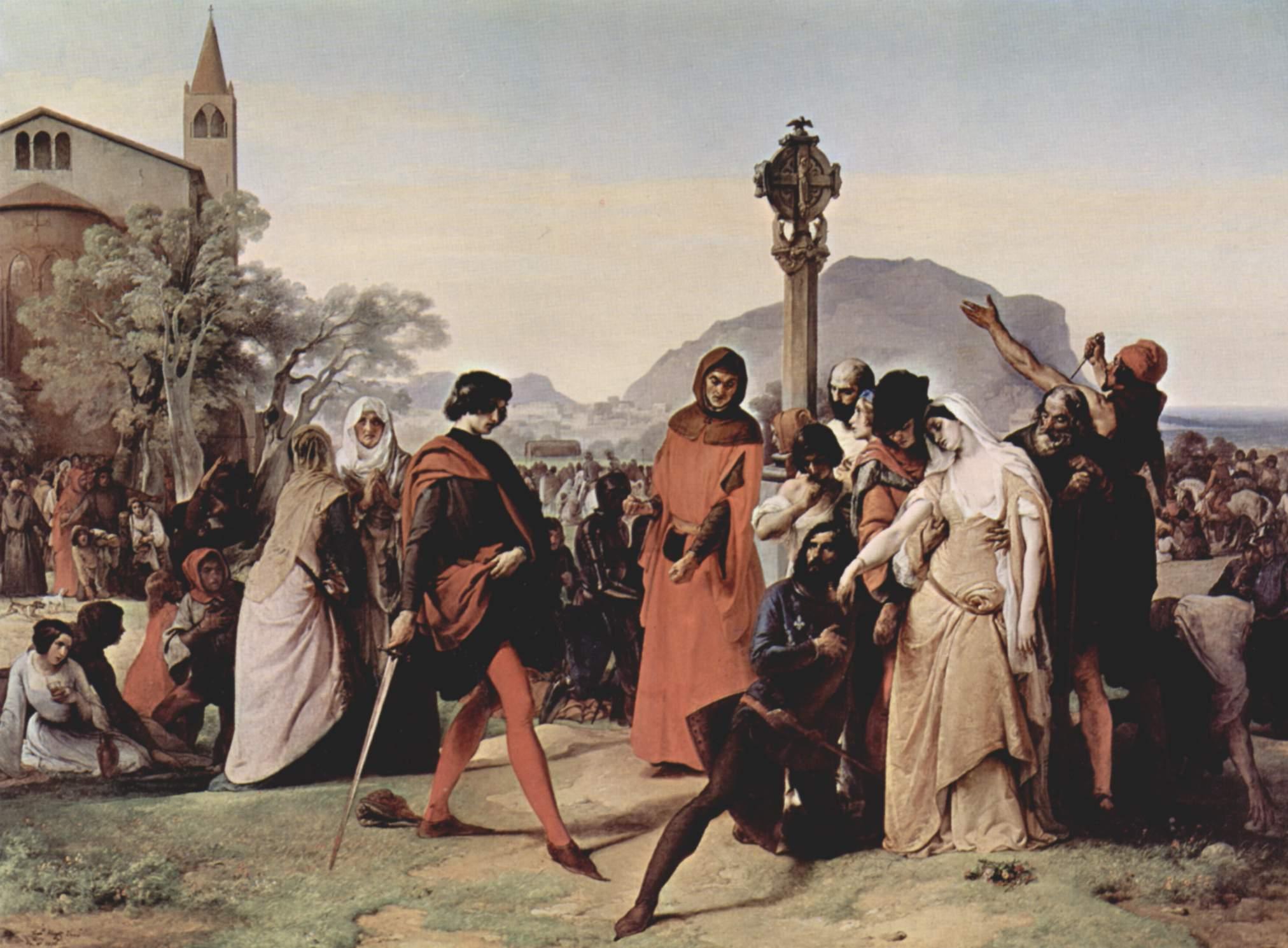 Drouet trafitto dalla spada viene ucciso, da I Vespri siciliani di Francesco Hayez (Galleria nazionale d'arte moderna e contemporanea).