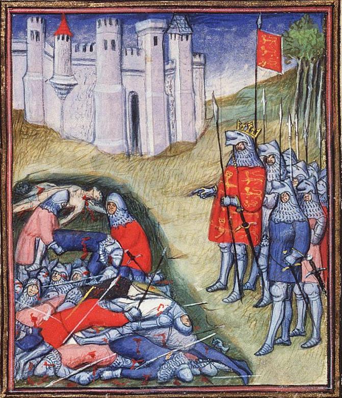 Edoardo III conta i morti dopo la battaglia di Crécy,  Jean Froissart, Chroniques (Vol. I).