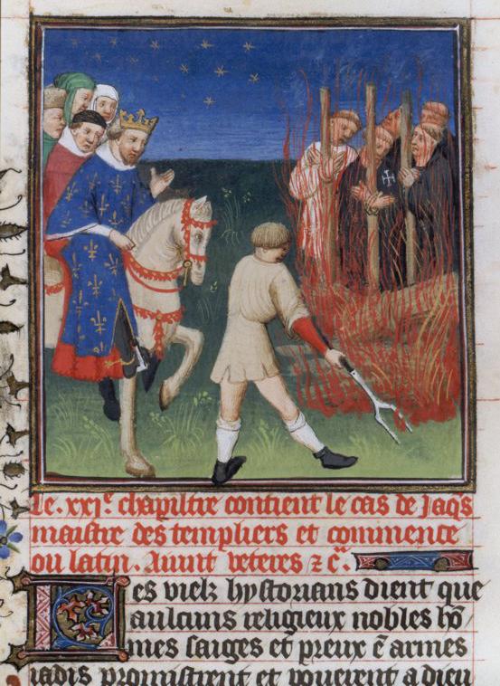 Filippo il Bello assiste al rogo dei Templari.