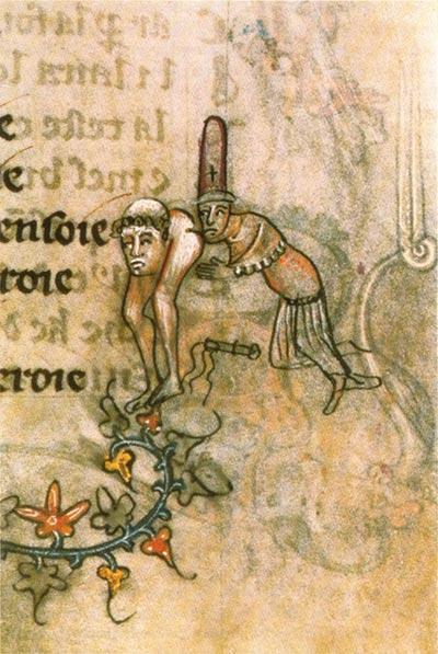 Illustrazione di un manoscritto, 1350 circa, che allude all'accusa di baci osceni tra i templari.