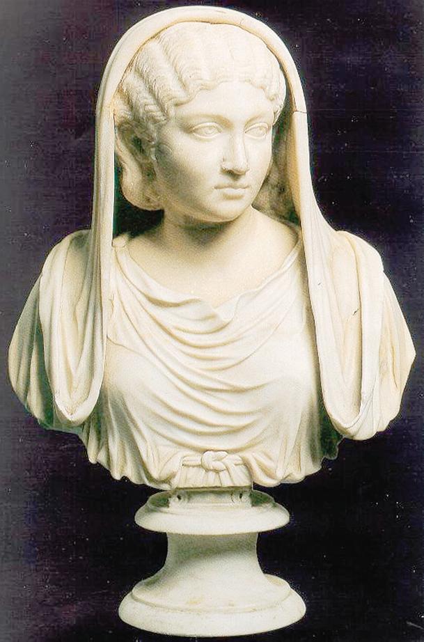 Un busto di marmo della scienziata alessandrina.
