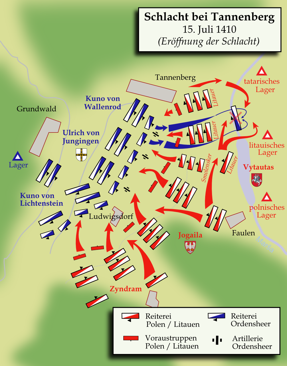 Lo schema tattico della battaglia.