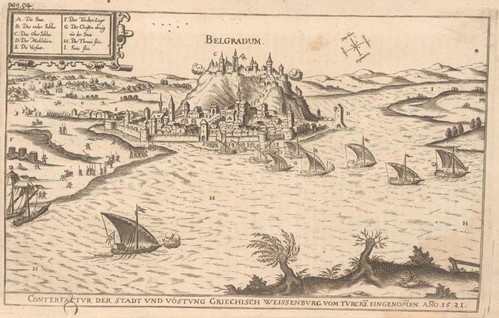 La Fortezza di Belgrado come appariva nel Medioevo. Sono visibili la città alta e quella bassa con il palazzo.