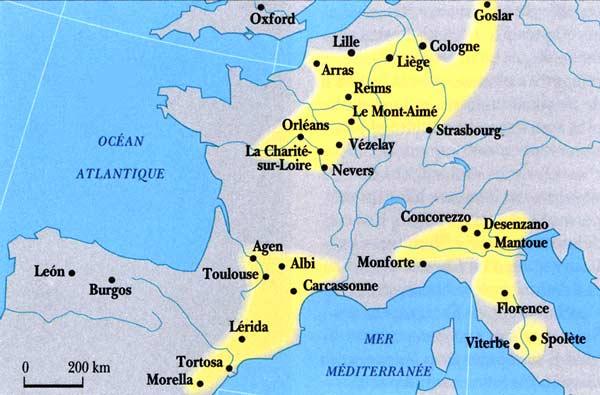 L'espansione del Catarismo agli inizi del XII secolo (mappa: Mire Peisset).
