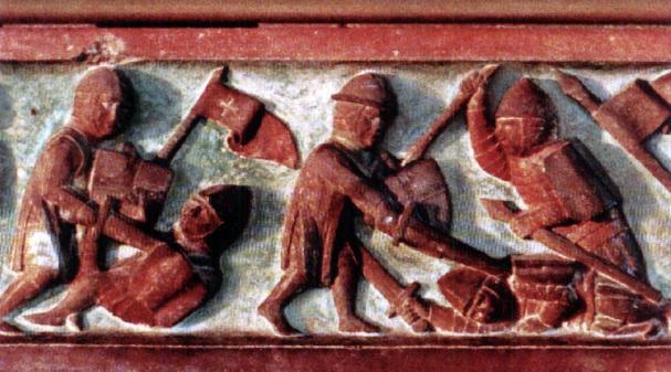 Lo scontro tra i Lituani e i cavalieri Teutonici in un bassorilievo.