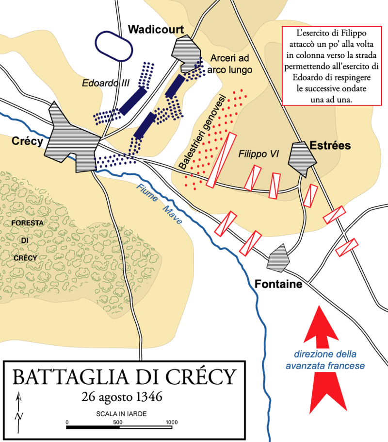Mappa della battaglia di Crécy , The Department of History, United States Military Academy.