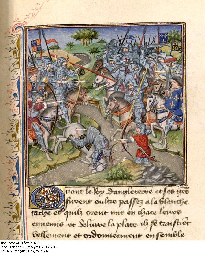 Miniatura quattrocentesca della battaglia di Crécy tratta dalle Cronache di Jean Froissart.