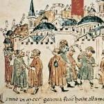 """Pellegrini del Giubileo del 1300, da una Miniatura della """"Cronica"""" di G. Sercambi. Archivio di Stato di Lucca, Biblioteca."""