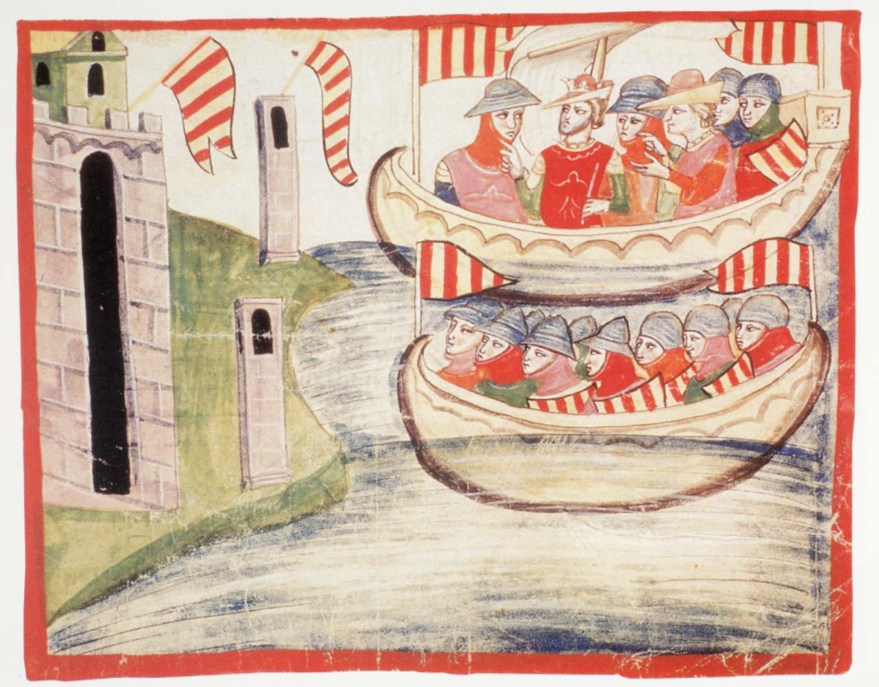 Pietro III d'Aragona sbarca a Trapani, manoscritto della Biblioteca Vaticana.