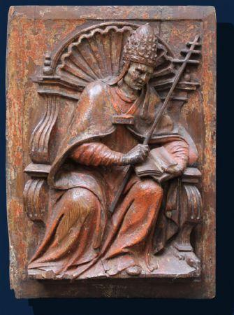San Gregorio Magno, pannello in legno scolpito del XVI secolo.
