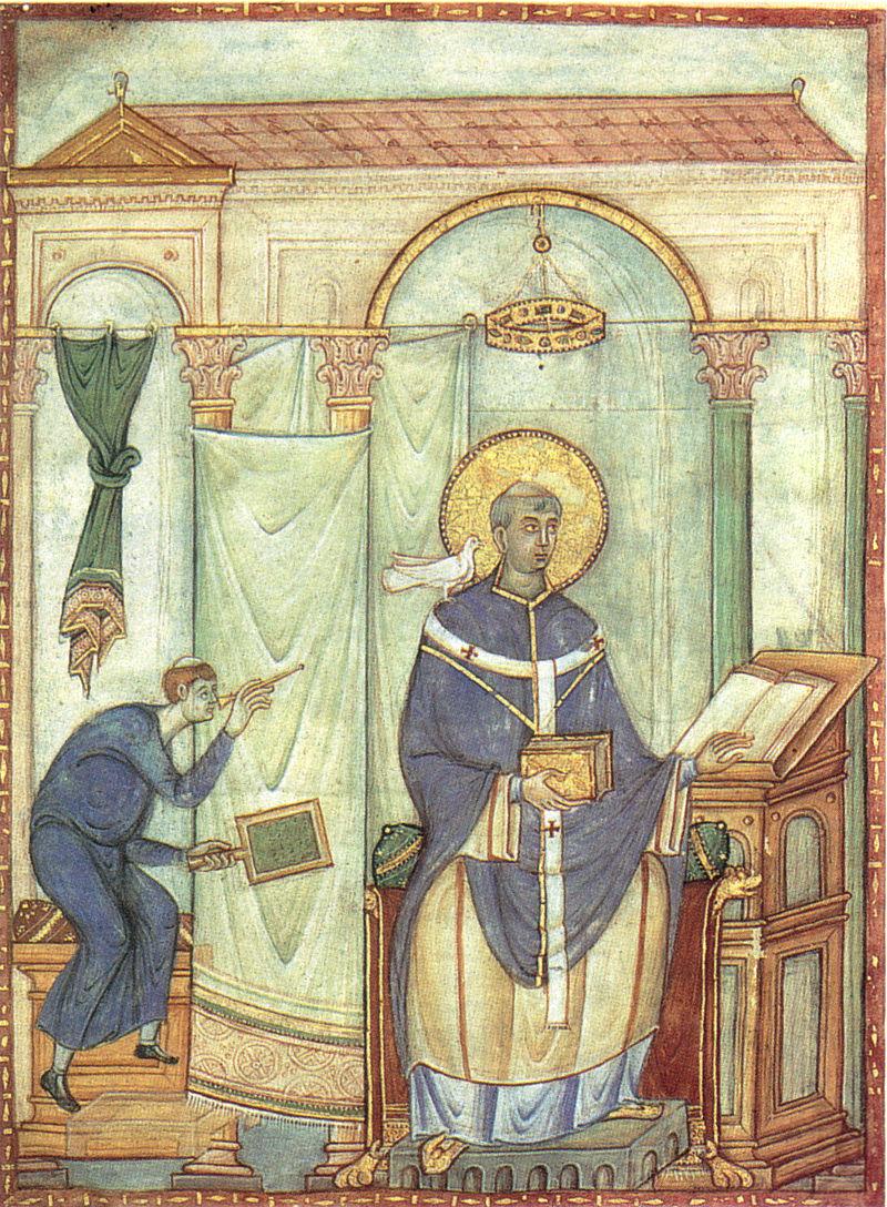 San Gregorio ispirato dalla colomba, miniatura biblioteca di Treviri.