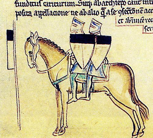 Una raffigurazione tipica dei cavalieri templari in un manoscritto del 1215.