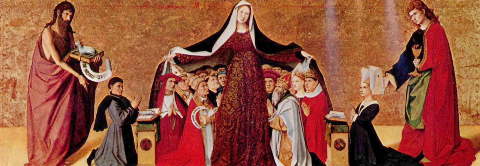 Vergine della Misericordia, Enguerrand Quarton, retablo Cadard, verso il 1444, museo Condé. Immagine di una Chiesa riconciliata con se stessa.