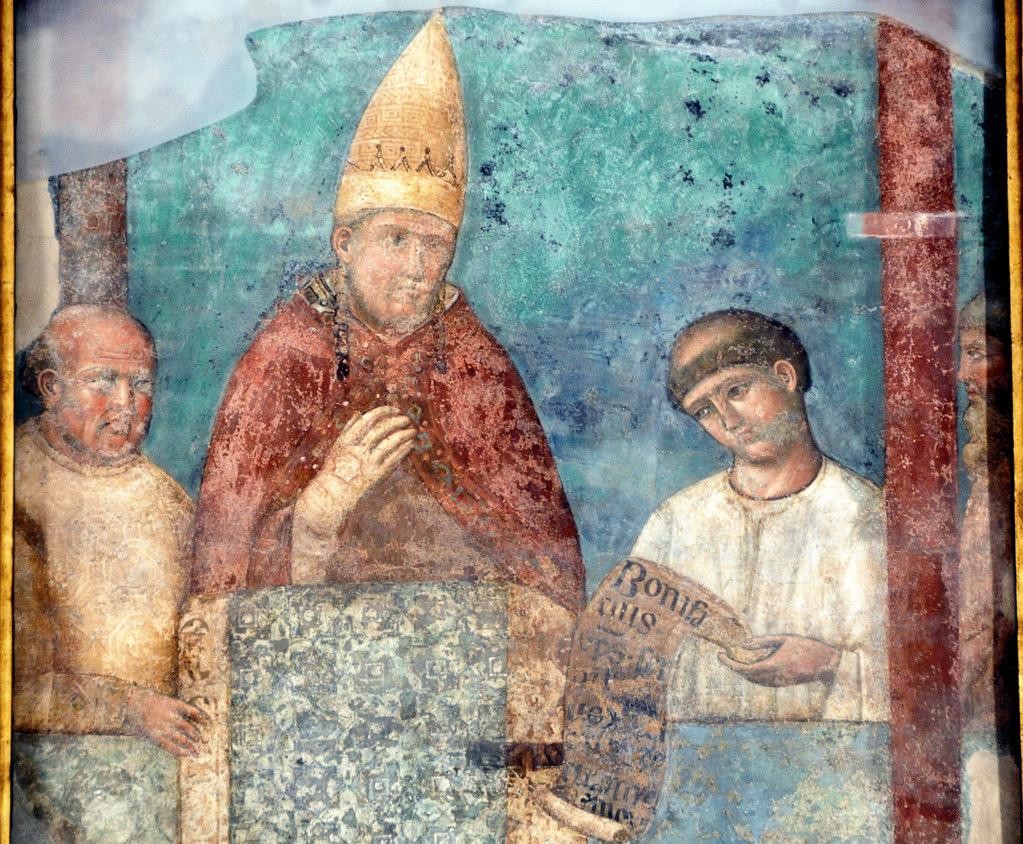 Bonifacio VIII indice il giubileo del 1300, Giotto, affresco staccato in San Giovanni in Laterano (Roma)