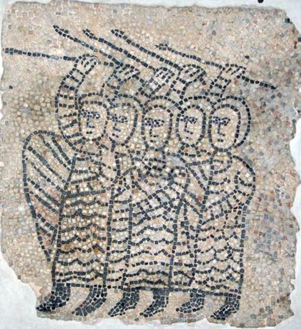 Crociati all'assalto. Frammento del mosaico pavimentale dalla chiesa di San Giovanni Evangelista a Ravenna