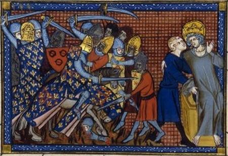 La battaglia di Hattin in una miniatura.