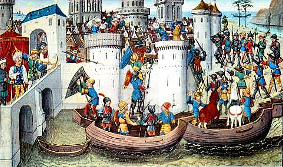 Il sacco di Costantinopoli, miniatura del XV secolo