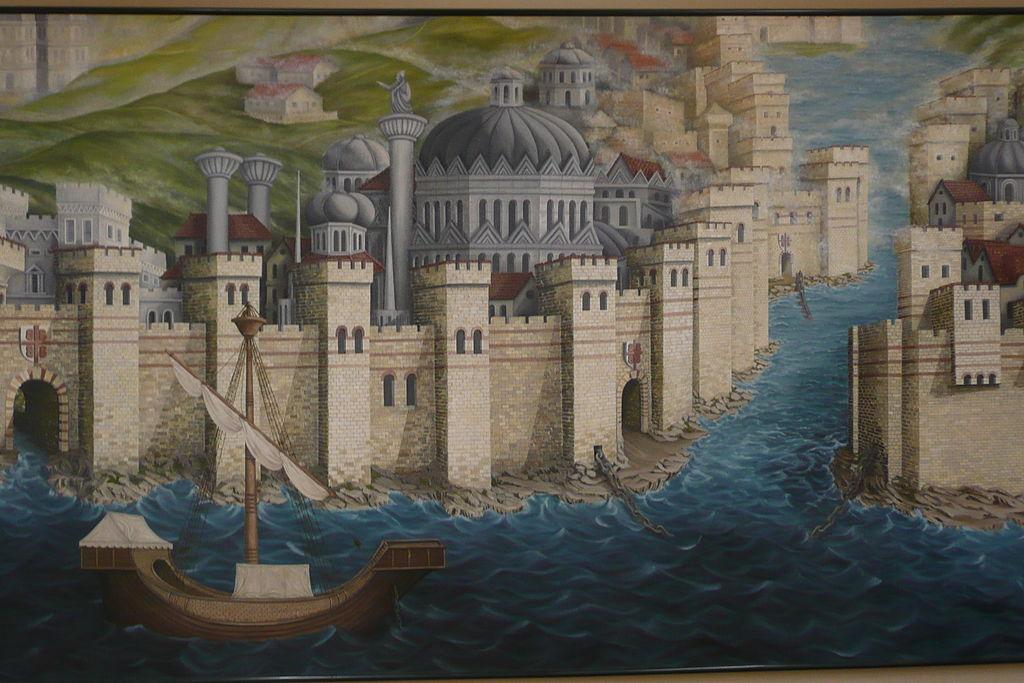 Le mura teodosiane durante la quarta crociata