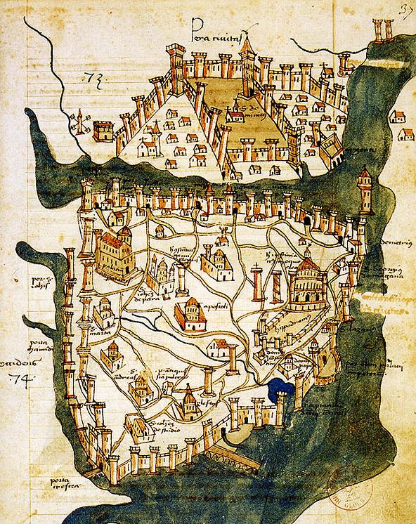 Mappa di Costantinopoli (1422) del cartografo fiorentino Cristoforo Buondelmonte