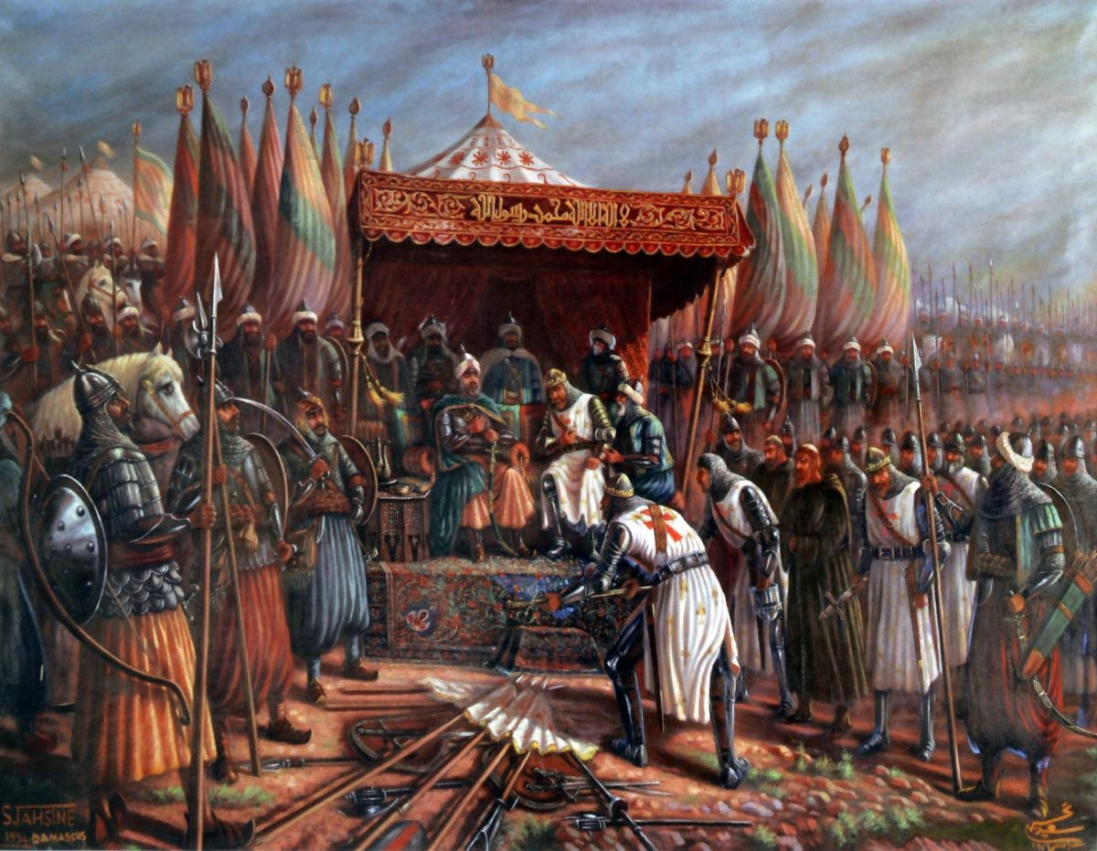 Modern interpretation of Saladin accepting the surrender of Guy of Lusignan