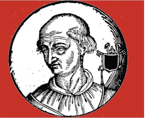 Papa Giovanni XII, disegno tratto da Bartolomeo Sacchi detto il Platina, Vite De' Pontefici, a cura di Onofrio Panvinio, per i tipografi Turrini, e Brigonci, Venezia 1663