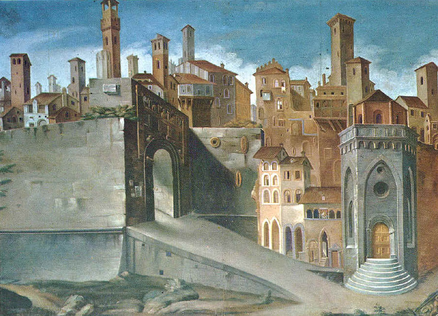 Uno scorcio di Perugia nel XV secolo da un affresco del Bonfigli