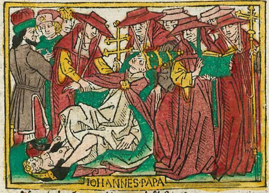 Raffigurazione del parto della papessa Giovanna nella pubblicazione di Heinrich Steinhöwel (1474, Ulm)