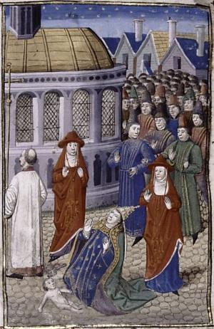 La papessa partorisce durante una processione (miniatura del 1450)
