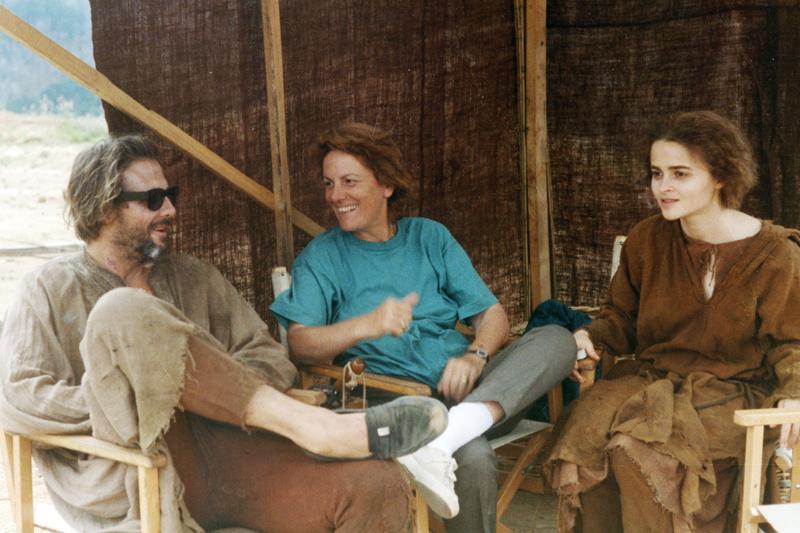 Liliana Cavani con Mickey Rourke e Helena Bonham Carter. Foto Paul Ronald - Francesco, 1989