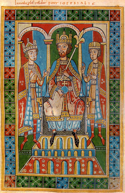 Federico I Barbarossa tra i suoi figli Enrico e Federico
