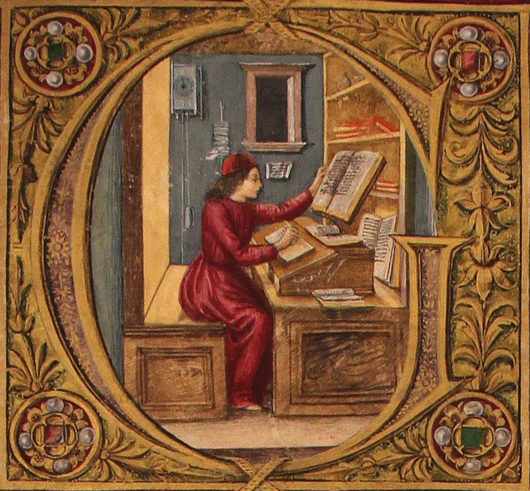 Miniatura di scuola fiorentina della lettera G maiuscola attribuita a Attavante Attavanti, circa 1480