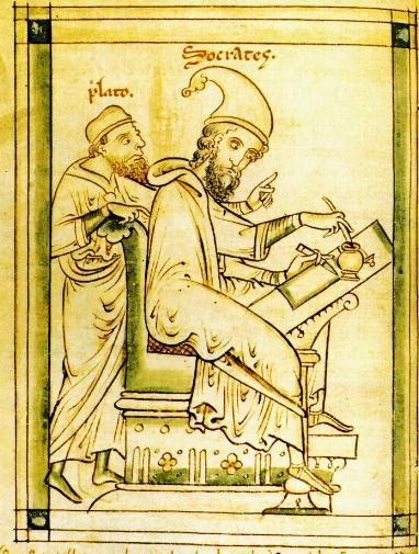 Platone impartisce insegnamenti a Socrate (Oxford, Bodleian Library, ms.Ashmole 304, c. 31v). La miniatura (1240 ca.) è opera di Matteo Paris, colui che definì Federico II stupor mundi