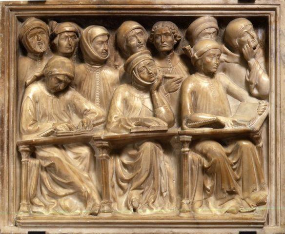 tudenti raffigurati in un frammento dell'arca di Giovanni da Legnano. Opera di Pierpaolo dalle Masegne, 1383, Bologna, Museo medievale