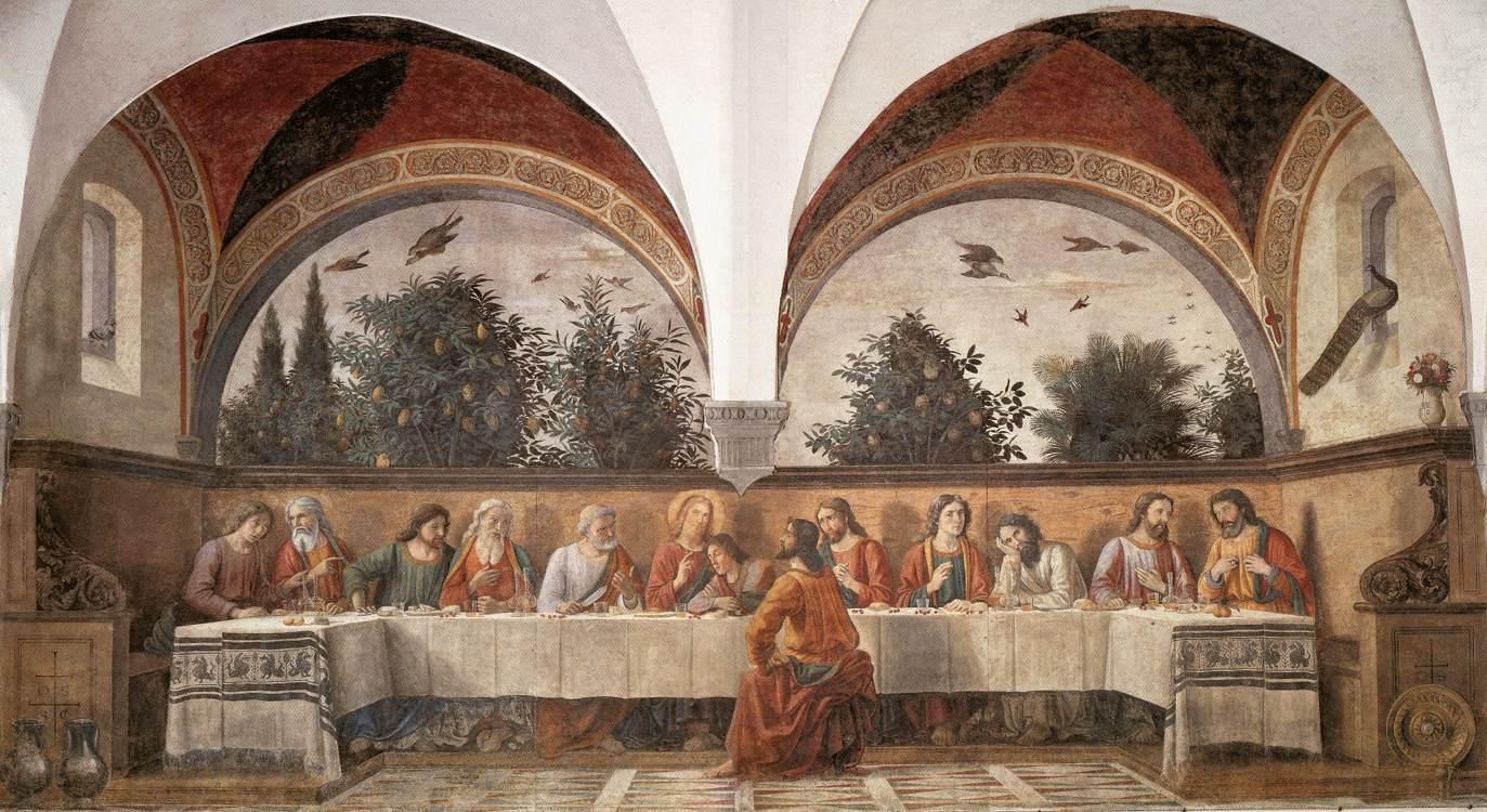 1488 Domenico Ghirlandaio ultima cena nel refettorio del convento di Ognissanti